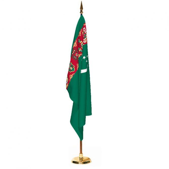 Indoor Turkmenistan Ceremonial Flag Set