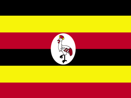 4in x 6in Uganda Flag with Staff and Spear