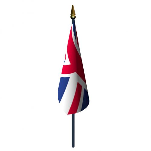 United Kingdom Flag with Staff and Spear