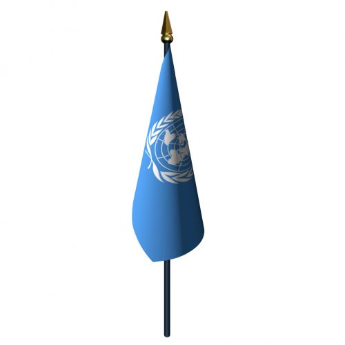 United Nations Flag with Staff and Spear