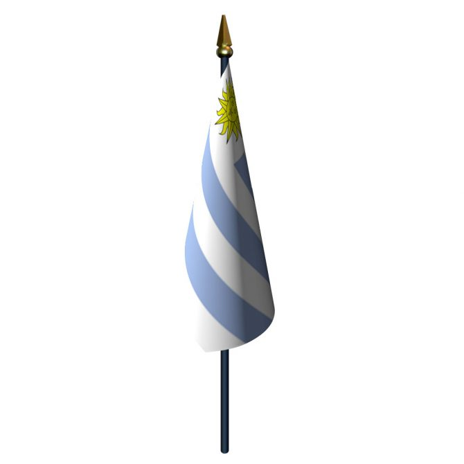 Uruguay Flag with Staff and Spear