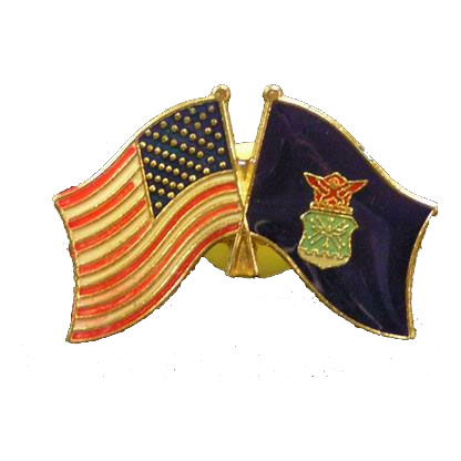 Dual America and Air Force Flag Lapel Pin