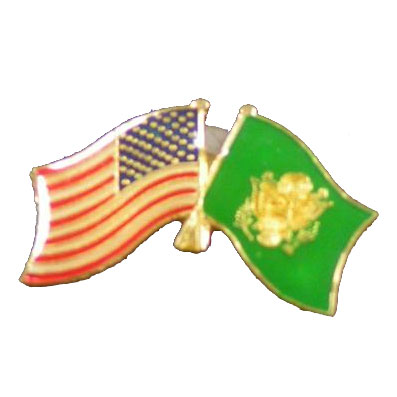Dual America and Army Flag Lapel Pin