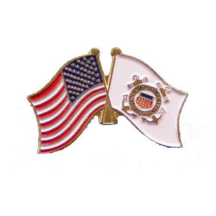 Dual America and Coast Guard Flag Lapel Pin