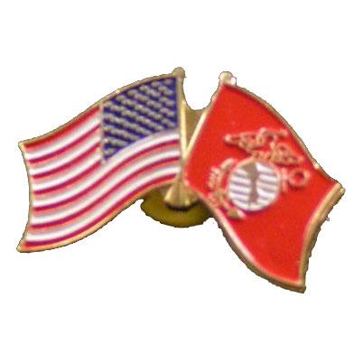Dual America and Marine Corps Flag Lapel Pin