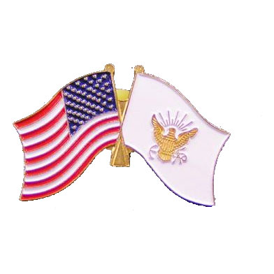 Dual America and Navy Flag Lapel Pin