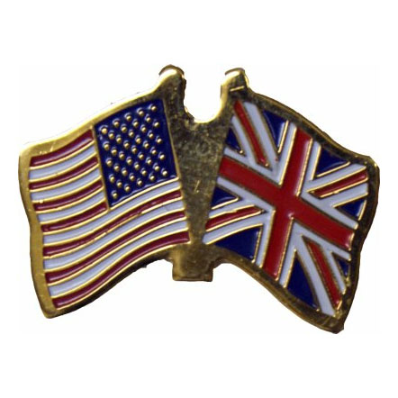 America and United Kingdom Friendship Flag Lapel Pin