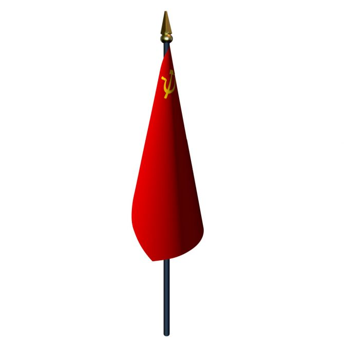4in x 6in Soviet Union Flag with Staff and Spear