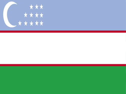 4in x 6in Uzbekistan Flag with Staff and Spear