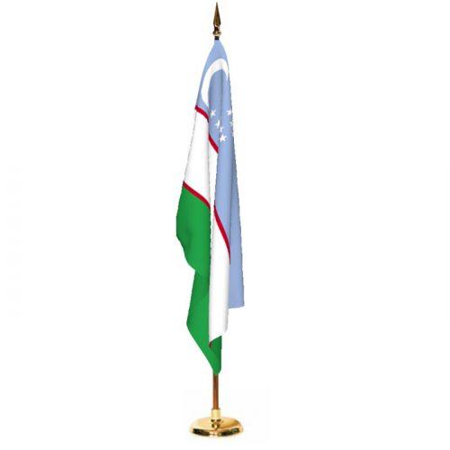 Indoor Uzbekistan Ceremonial Flag Set
