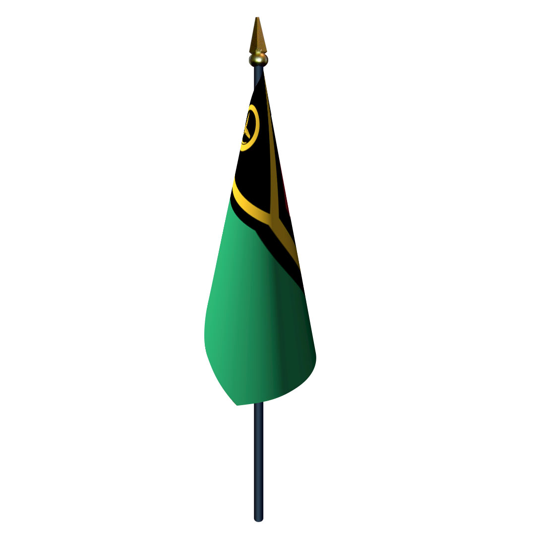 4in x 6in Vanuatu Flag with Staff and Spear