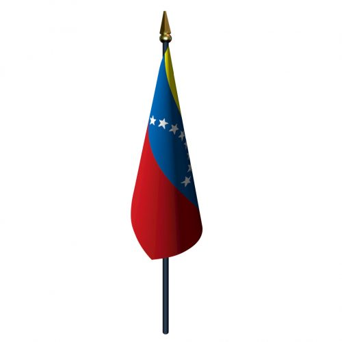 Venezuela Flag with Staff and Spear