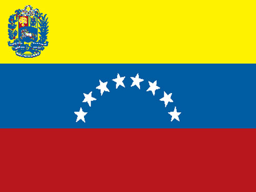 Venezuela with Seal Flag with Staff and Spear