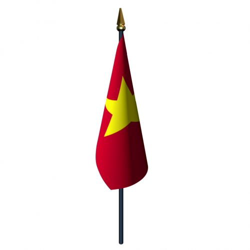 4in x 6in Vietnam Flag with Staff and Spear