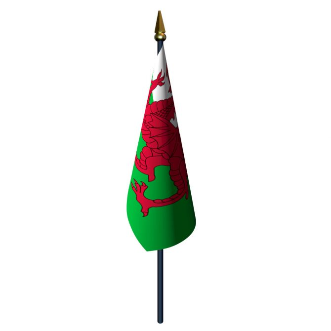 Wales Flag with Staff and Spear