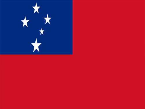 4in x 6in Western Samoa Flag with Staff and Spear