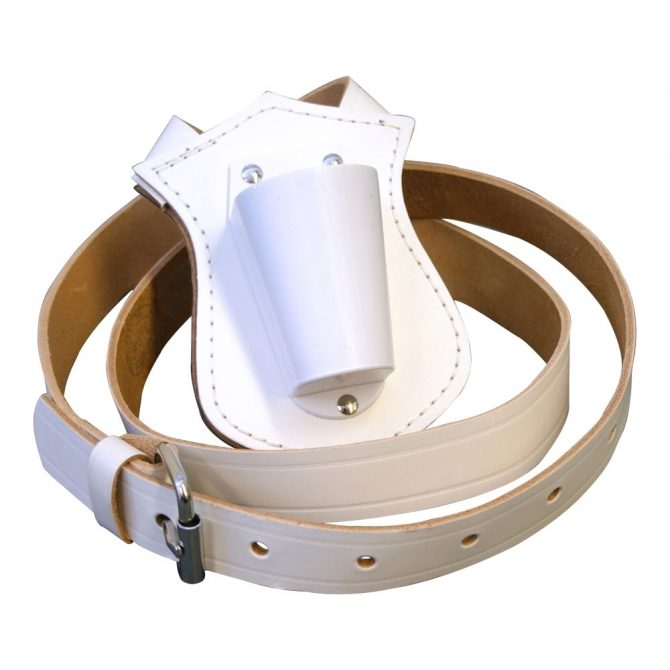 Single Strap White Leather Parade Carrying Belt