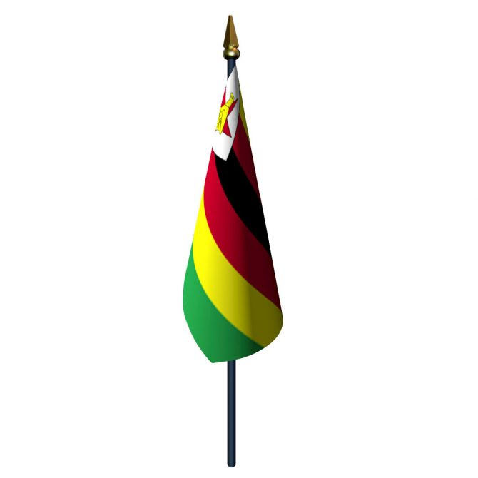 4in x 6in Zimbabwe Flag with Staff and Spear