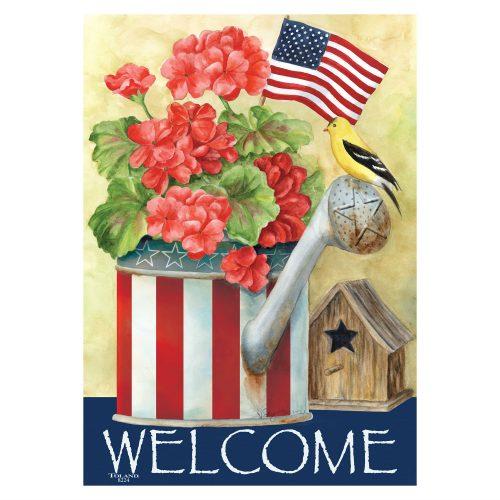 Patriotic Watering Can House & Garden Flag