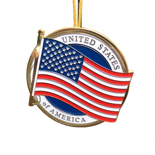 US Flag Christmas Ornament